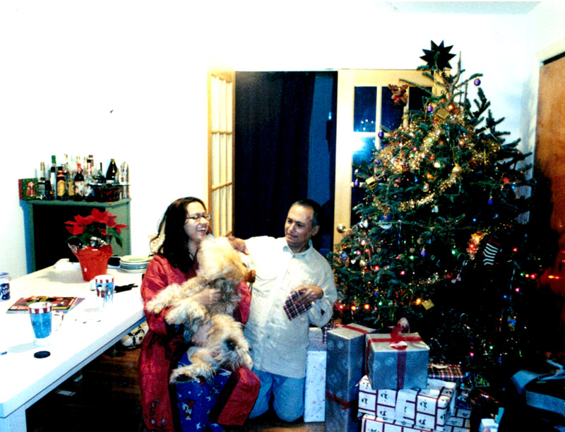Christmas with Kissing Dog